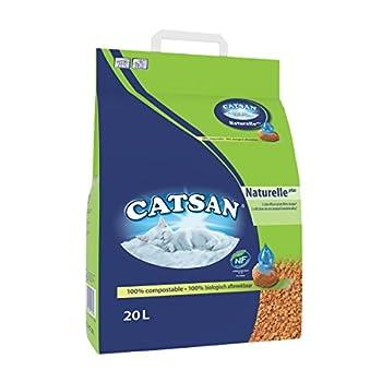 CATSAN Naturelle Plus - Litière Végétale pour Chat, 1 Sac de 20L