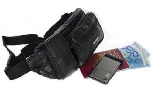 Snugrugs Leder-Bauchtasche Reißverschlussfächer und Mobiltelefonfach, Schwarz oder Braun Schokoladenbraun