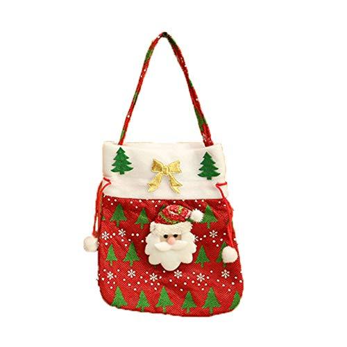 ODJOY-FAN Weihnachten Süßigkeiten Tasche Tragbar Geschenktasche Weihnachtsmann Schneemänner Geschenk Kinder Party Lager (20x24cm,35g)(C,1 PC)
