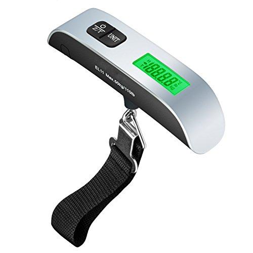 GOSCIEN Balanzas Portátiles de Equipaje de Viaje Electrónica Digital LCD Handheld Equipaje 50kg / 110lb para Maleta en Viajes, Precisión 0,01g