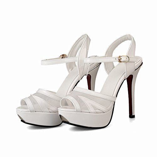 Mee Shoes Damen peep toe high heels Plateau Sandalen Weiß