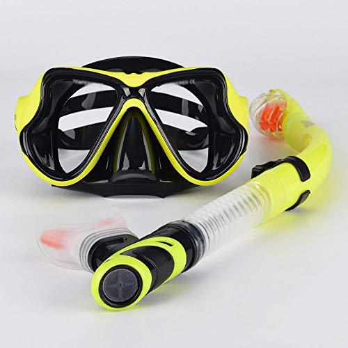Szblk Brille Auslaufsicher Wasserdicht Anti-Fog Anti-UV Schwimmsportbrille HD Schwimmbrille Großer Rahmen Geeignet for Tauchen Schwimmen Erwachsene (Color : Yellow)