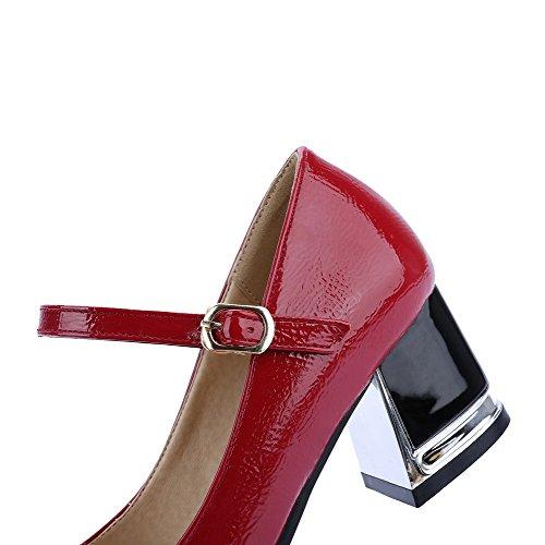 Salto Couro Pés Bombas Allhqfashion Fivela Puramente Dos Senhoras Médio Borgonha Sapatos Quadrados wRATnxT1