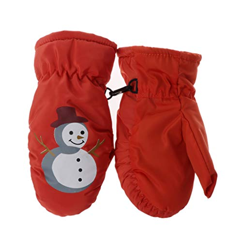 Cuigu Kinder Winter Warm Ski-Handschuhe Niedlich Schneemann Design Jungen Mädchen Sport wasserdicht Winddicht Rutschfest Schneehandschuhe Handgelenk Ski-Handschuhe, Orange, 7.09