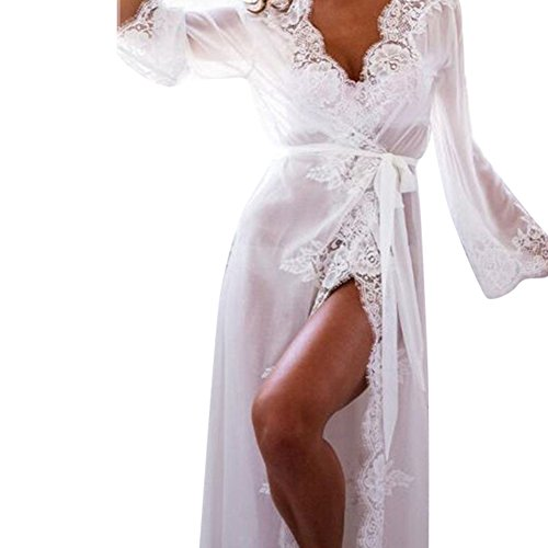 ALCYONEUS Women sexy Lace Dress Nachtwäsche Robe Langarm Nightwear size L (White)