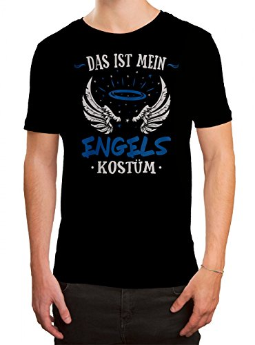 Kostüm Engel Premium T-Shirt | Verkleidung | Karneval | Fasching | Herren | Shirt, Farbe:Schwarz (Deep Black - Schwarzer Engel Kostüm Männer