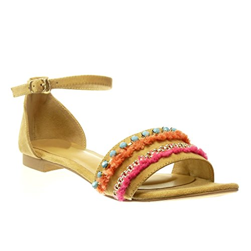 Angkorly Chaussure Mode Sandale femme bijoux pom-pom Talon bloc 1.5 CM Camel