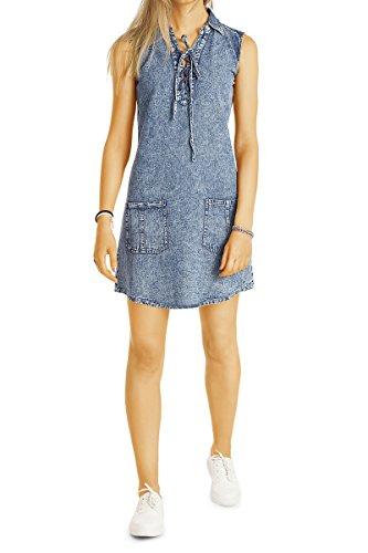 Bestyledberlin Damen Jeans Kleid, Denim Kleider Vintage Look, Acid Wash Hipster Baumwollkleider k81p 36/S