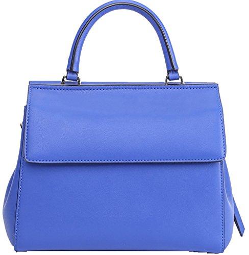 Xinmaoyuan Borse donna personalità Hit colore fibbia magnetica senza maniche donna borsa a tracolla Borsa orizzontale colore solido laterale morbida borsa zipper,blu Blue