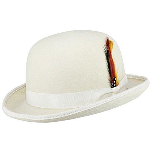 Hochwertiger Bowlerhut mit Feder, harte Oberseite, 100 % Wolle, mit Satin ausgekeidet Gr. Large, (Weiße Satin Derby Hat)
