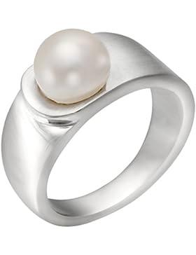 Vinani Jewelry Damen-Ring 925 Sterling Silber matt glänzend mit Süßwasserzuchtperle REP