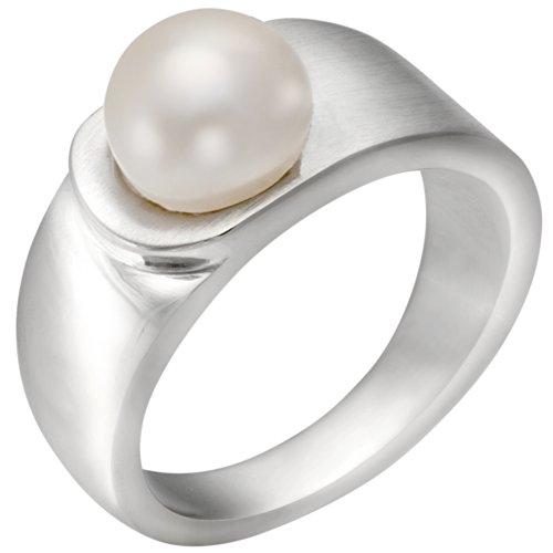 Vinani Ring mattiert glänzend mit Süßwasserzuchtperle Sterling Silber 925 Größe 52 (16.6) REP52
