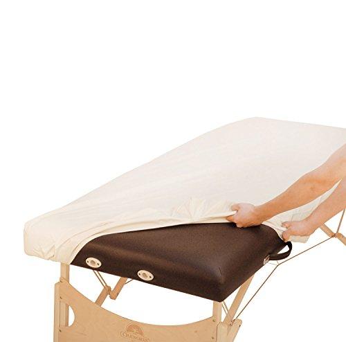 Ölresistenter PU-Bezug für Massageliege (79-84 x 200 cm), extralang, Größe 200 L, Spannbezug zum Schutz von Liegen, ölabweisend, wasserabweisend, creme-farben, Liegenbezug