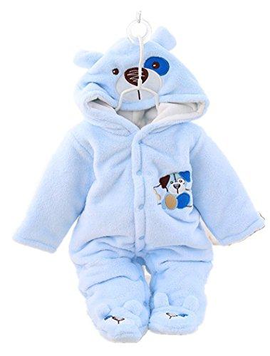 Minetom Herbst-winter Verdickte Warm Unisex Baby Overall Cartoon Coral Fleece Kinderkleidung Hund Blau (Cute Junge Hund Halloween Kostüme)