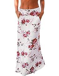blanco Bolsillo recta mujeres verano playa floral impresiones baja cintura largo vestido de falda (L)