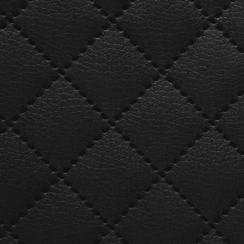 NOVELY® Soltau Kunstleder 3-LAGIG gesteppt kaschiert | Volumen Polsterstoff | KARO Möbelstoff Premium (11 Schwarz) Kunstleder