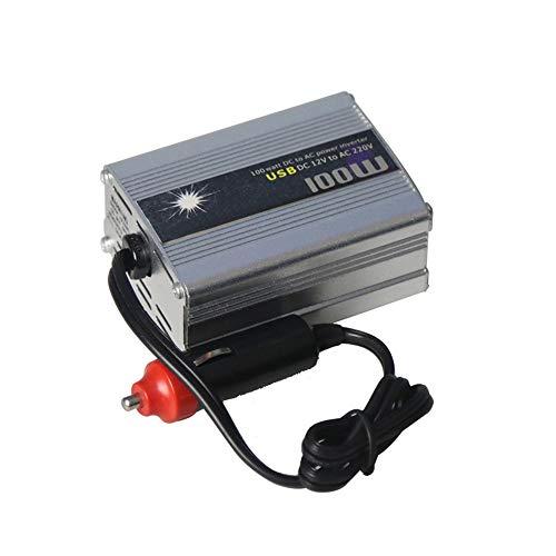 KKmoon Wechselrichter 12v auf 220v 100W Fahrzeug Spannungswandler Sinus Stromrichter Steckdose Auto Adapter mit 2 USB Anschlüsse Kfz Zigarettenanzünder Stecker Silber