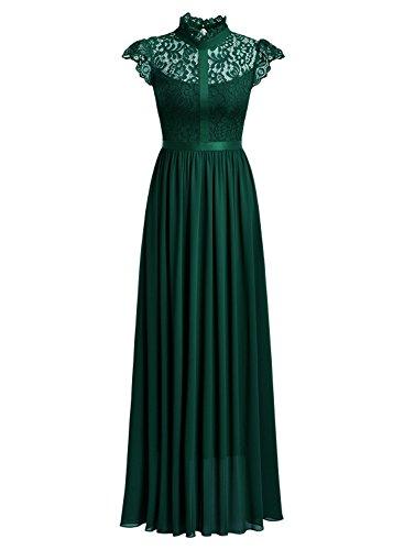 MIUSOL Robe de Soirée Dentelle Cocktail Longue Pour Mariage Femme,Robe de Fete Ceinture Femme Vintage Retro Sans manche Vert