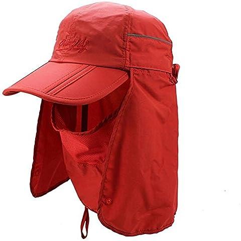 GenialES 360 Gradi Protezione UV50 Cappello con Maschera Passamontagna Strato Di Collo Smontabile Unisexo Per Pesca Da Trekking Lavoro, rosso