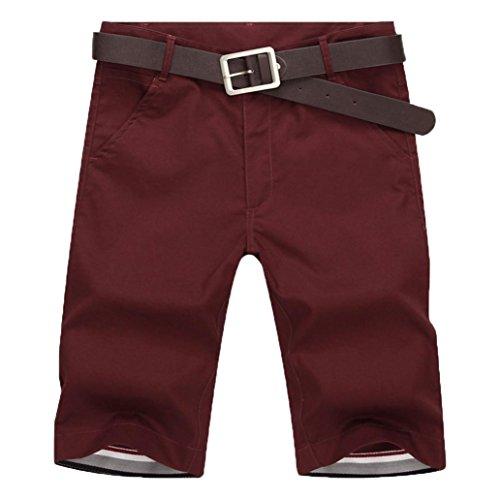 Preisvergleich Produktbild Yesmile Herren Kurz Hose Outdoor Cargo Shorts Baumwolle Sommerhose / Cargo Bermuda Shorts / Jogginghose Sport Hose / Sommer Strandshorts / Freizeitshorts / Workout Fitness / Gym Short Pants (XL(32),  Rot)