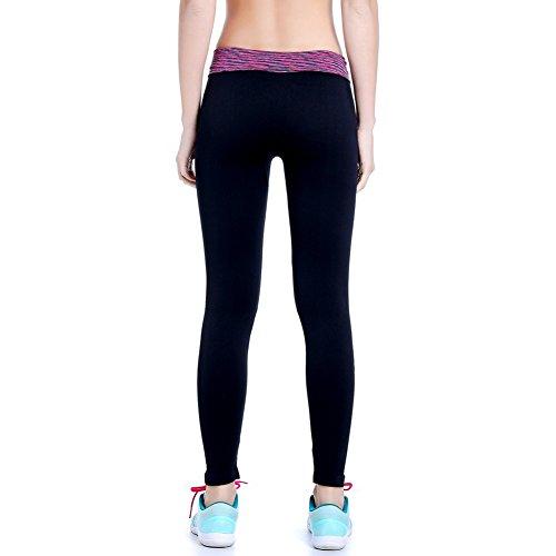 Ming Legging de sport Femme à Séchage Bicolore Elastique Sportifs Fitness/Gym Rosé
