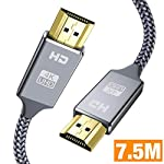 Cble-HDMI-75mCble-HDMI-en-Nylon-Tress-avec-Ethernet-3D-et-Retour-Audio-Vido-4K-2160p-Full-HD-1080p-3DTV-Xbox-360Playstation-PS3PS4HDTVArcHDCP-22HDR
