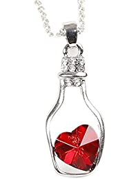 shopping World Ocean Red Crystal Locket Glass Bottle Pendant Necklace in Silver Chain