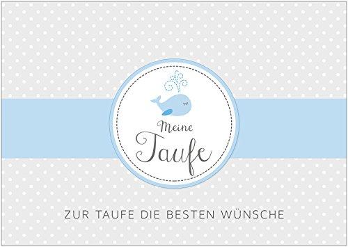 """Erhältlich im 1er 4er 8er Set: Glückwunschkarte zur Taufe """"Meine Taufe - Zur Taufe die besten Wünsche"""" (Klappgrußkarte / Grußkarte / Baby / Taufkarte / Geburt/ Babykarte / Feier) für einen Jungen in grau / blau mit einem Fisch (Wal) (Mit Umschlag oder optional mit frankiertem Umschlag) (1)"""