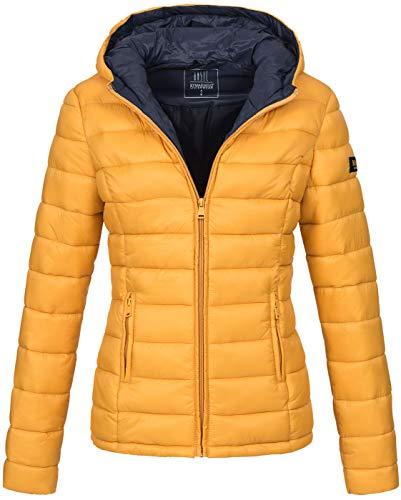 Marikoo Damen Jacke Steppjacke Übergangsjacke gesteppt B651 [B651-Luc-Gelb-Gr.M]