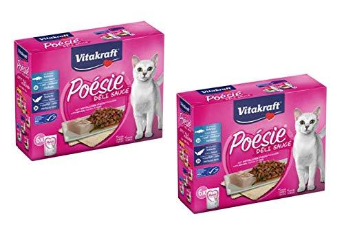 Vitakraft Cibo Umido per Gatti Poésie Deli Sauce Multipack Pesce - Buste da 85 gr (12 Buste)