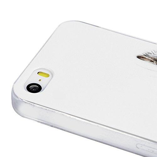 iPhone 5/SE Hülle Case,KASOS iPhone 5/SE Handyhülle Schale Etui Protective Case Cover Gemalt Handyhülle PC Hard Backcase Transparente Bumper Etui,Einhorn Kätzchen