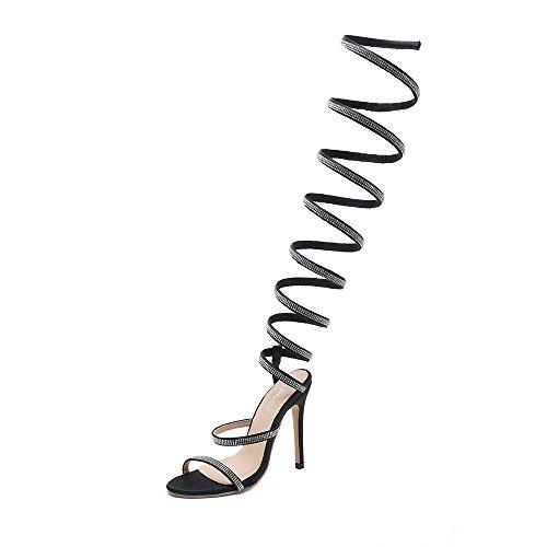 Damen Knöchelriemen Party Riemchensandalen Lady Snake Wrap Strass Hochhackige Sandalen Overknee Fine Heel Bankett Sandalen Damen Brautjungfer Knoten Sandalen ( Color : Black , Size : 37 1/3EU )
