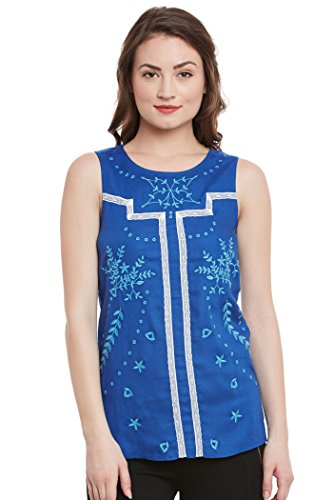 The Vanca Women's Sleeveless Top With Round Neckline In Lace Binding