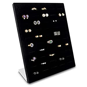 grinscard schmuckdisplay f r 50 ringe ohrringe organizer f r schmuck aufbewahrung. Black Bedroom Furniture Sets. Home Design Ideas