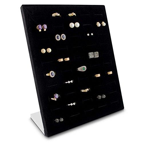 isplay für 50 Ringe & Ohrringe Organizer für Schmuck Aufbewahrung & Präsentation - 26 x 20 x 9 cm - schwarz ()