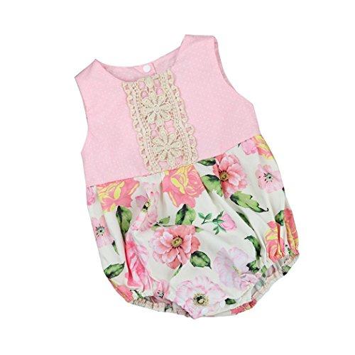 VENMO Kleinkind Neugeborenes Baby Mädchen Blumen Drucken Lace Romper Overall Outfits Kleidung (Pink, Size:6M)