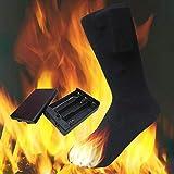 Chaussettes chauffantes en coton de 4,5 V | Chaussettes chauffantes unisexes à double couche | Chauffage électrique Chaussettes chaudes pour la chasse au ski en hiver Camping Randonnée Randonnée