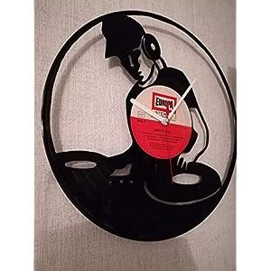 Wanduhr aus Vinyl Schallplattenuhr mit DJ Motiv upcycling design Uhr Wand-deko vintage-Uhr Wand-Dekoration retro-Uhr dj…