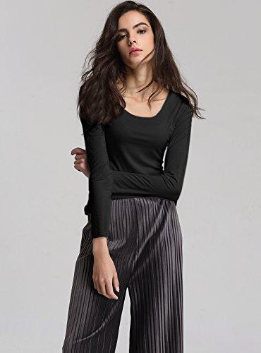 Escalier Femmes T-shirt Basique en Coton Col rond Manche Longue Tops Noir