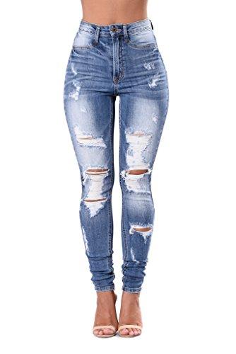 Dorekim ladies strappati elasticizzati jeans casual da spiaggia pantaloni #6008-l (large, 6003)