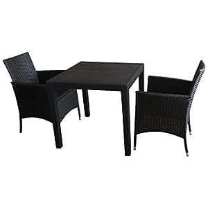 3tlg sitzgarnitur balkonm bel bistro set gartenm bel gartentisch kunststoff. Black Bedroom Furniture Sets. Home Design Ideas