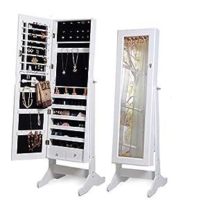 Cadorabo Intirilife – Eleganter Schmuckschrank mit abschließbarer Spiegeltür mit 2 Schubladen und Haken für Ketten, Ohrringe, Schmuck in den Maßen 146 x 41 x 36.5