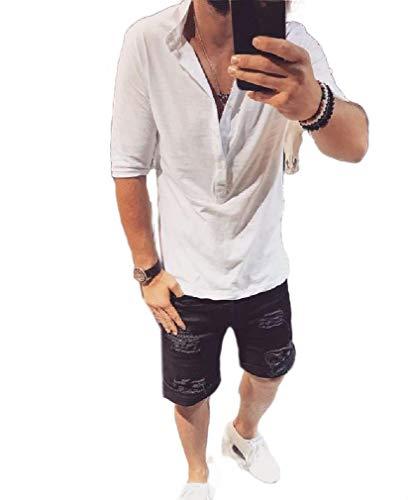 CuteRose Men Summer Lightweight Cotton Soft Elbow Sleeve Tops Henley Shirt White L -