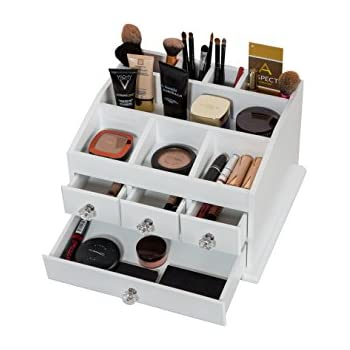 multipurpose white wood cosmetic organiser caddy with