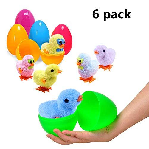 Yuailiur uova di pasqua piene di giocattoli riempite con coniglietti e pulcini a molla (6 pacco)