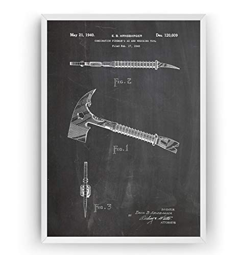 Firemans Ax and Wrecking Tool Patent Print - Firefighter Gift Fathers Dad Vintage Men Women Blueprint Wall Poster Art Fire Engine Decor Wife Firewoman - Frame Not Included