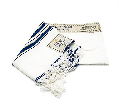 Messianic Tallit - Cejilla de oración, color azul marino oscuro y dorado con bolsa de talis