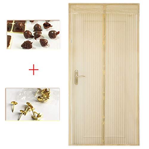 BYCDD Magnet Fliegengitter tür BalkontüR, Schließt automatisch Moskitonetze für Türen langlebig atmungsaktiv Insektenschutz Magnet,Beige_39x83in/100x210CM