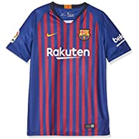 Nike FC Barcelona Breathe Stadium Jersey Short-Sleeve Home Sport Shirt, Blu (Deep Royal Blue/University Gold 456), Medium Bambino