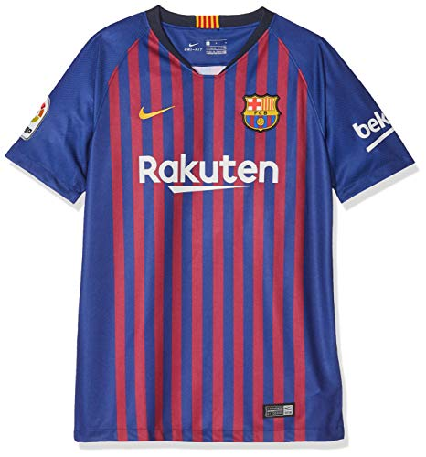 Brand new, official Barcelona Kids Home shirt for the 2018 2019 La Liga season. This authentic football kit is available in junior sizes small boys, medium boys, large boys, XL boys and is manufactured by Nike.Customise your FC Barcelona Football Kit...